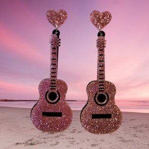 NWT Glitter guitar bold statement earrings